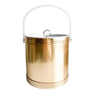 Georges Briard Lucite Gold Ice Bucket For Sale