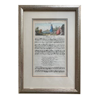 18th C. English Sheet Music Engraving, Framed For Sale
