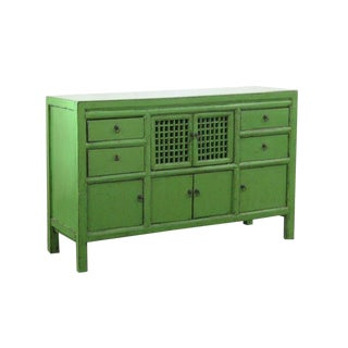 19th Century Chinese Green Lacquer Country-Style Sideboard For Sale