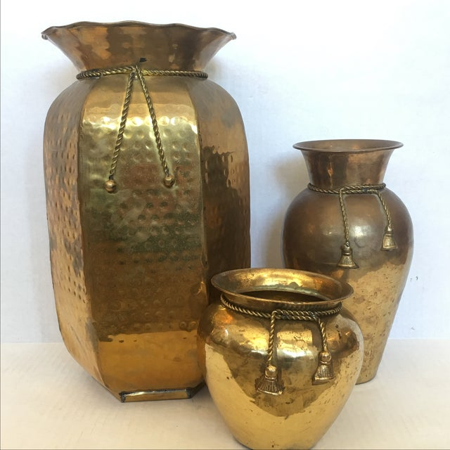 Brass Vases with Cord and Tassel - 3 - Image 2 of 6