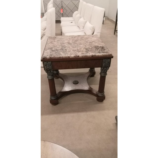 Traditional Empire Drexel Heritage Marble Top Solid Wood Square Side Table For Sale - Image 3 of 12