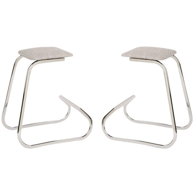 Pair of Sculptural Mid-Century Modern Counter Stools by Charles Stendig For Sale