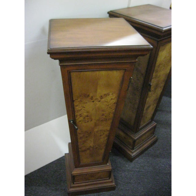 Brown Pedestal Storage Cabinets- A Pair - Image 4 of 10