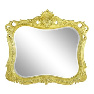 Vintage French Country Style Carved Wood Mirror For Sale
