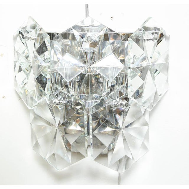 Pair of Glamorous 1970s Kinkeldey Oversized Crystal Sconces For Sale In New York - Image 6 of 10