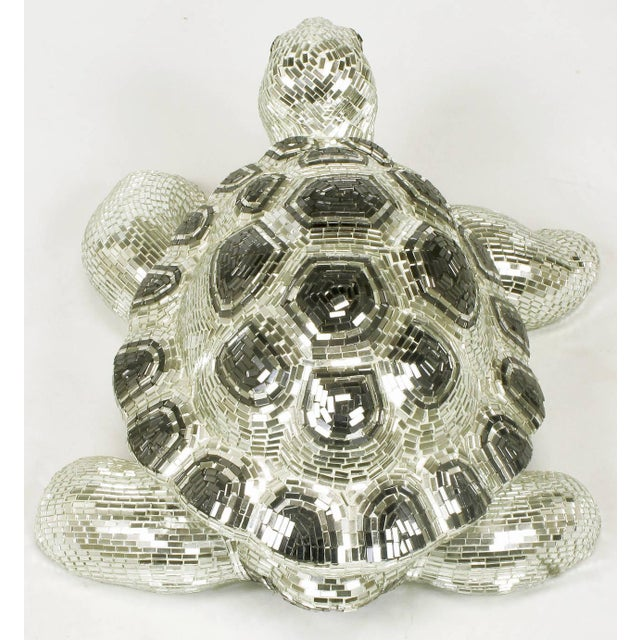 Lifesize Tortoise Sculpture Clad in Tessellated Mirror - Image 6 of 10