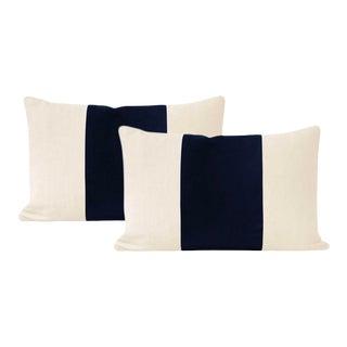 "12"" X 18"" Sapphire Italian Velvet Lumbar Pillows - a Pair For Sale"