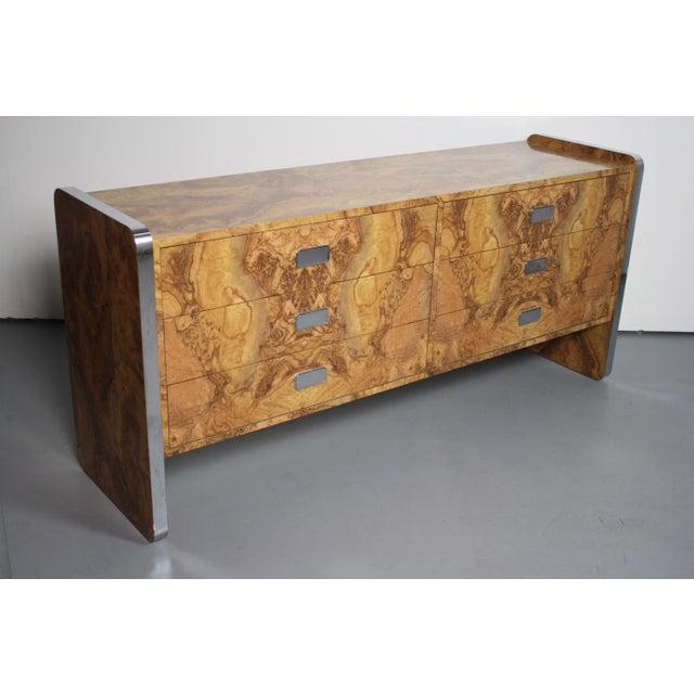Hollywood Regency Burlwood Laminate & Chrome Dresser For Sale - Image 3 of 3