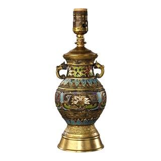 20th Century Asian Antique Cloisonné Jar Shaped Table Lamp For Sale