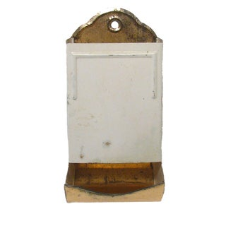 Vintage White Enamel / Copper Match Holder