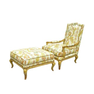 Late 20th Century Nancy Corzine French Provincial Louis XV Style Bergere Lounge Chair and Ottoman For Sale