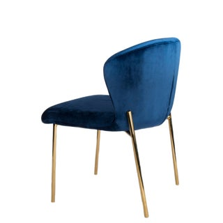 Jamie Curved Dining Chair in Blue and Gold Preview