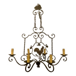Antique Wrought Iron Country Fixture Chandelier For Sale