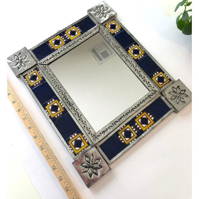 Mexican Vintage Mexican Blue and White Handmade Tile Mirror For Sale - Image 3 of 12