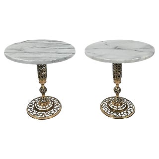 Marble and Brass Filigree Tables, Pair For Sale