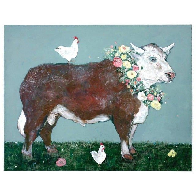 French Flowered Cow With Chickens Painting by Ira Yeager For Sale - Image 13 of 13