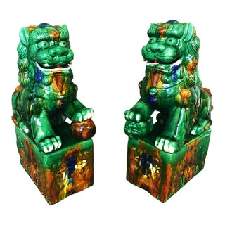 Green Vintage Glazed Foo Dogs - A Pair