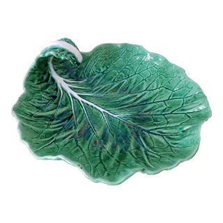 Bordallo Pinheiro Majolica Cabbage Leaf Dish With Curled Handle For Sale