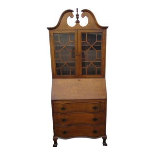 Ball and Claw Feet Tall Tiger Maple Secretary Desk For Sale