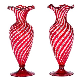 Pair of Handblown Venetian Red & Clear Optic Swirl Vases Attributed to Salviati For Sale