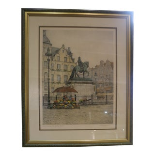 "Vintage Fritz Hartmann Colored Engraving, ""Dusseldorf"" For Sale"