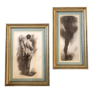 Gallery Wall Collection 2 Male Nude Vintage Lithographs Framed For Sale