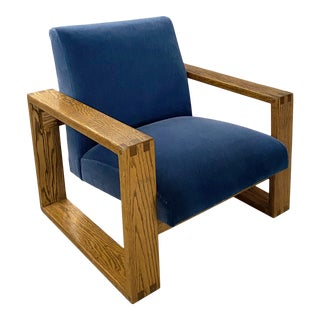 Mid-20th Century Oak Chair Newly Upholstered in Mohair For Sale