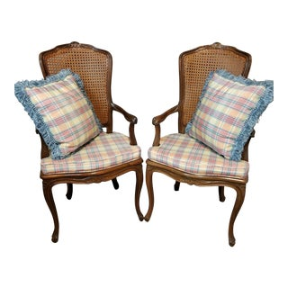 Vintage Country French Provincial Louis XV Caned Backs and Seats Armchairs - a Pair For Sale