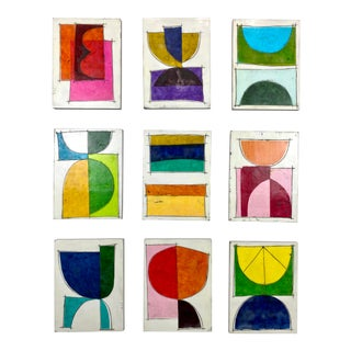 "Encaustic Collage Installation by Gina Cochran ""Happy Hour"" 9 Panel Set For Sale"