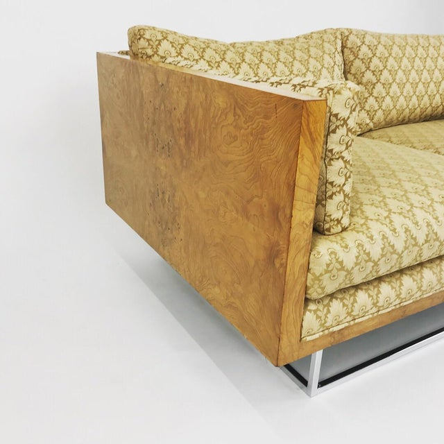 Danish Modern 2 Seater Olive Burl Sofa With Chrome Base Designed by Milo Baughman for Thayer Coggin For Sale - Image 3 of 13