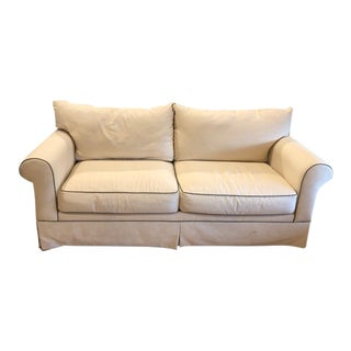 Transitional Cream Upholstered Sofa For Sale