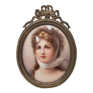 19th Century Hand Painted Miniature Portrait on Porcelain of a Beautiful Young Lady For Sale