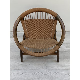 1970s Vintage Illum Wikkelso Ringstol Walnut and Woven Cord Ring Hoop Circle Chair Preview