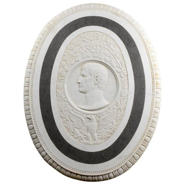 Large 19th Century Oval Marble Relief of the Roman Emperor Claudius With Eagle For Sale - Image 9 of 10