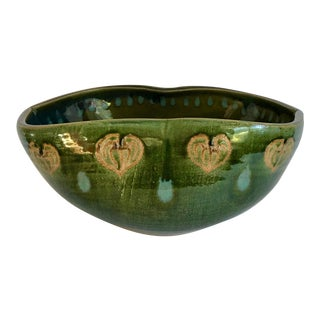 Vintage Glazed Studio Pottery Bowl Made in Occupied Japan For Sale