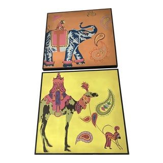 Elephant & Monkey Caravan Original Pop Art Hand Painted and Wood Mounted Wall Plaque - a Pair For Sale