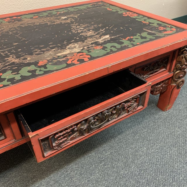 Mid-20th Century Chinese Hand Painted + Carved Coffee Table For Sale - Image 4 of 12