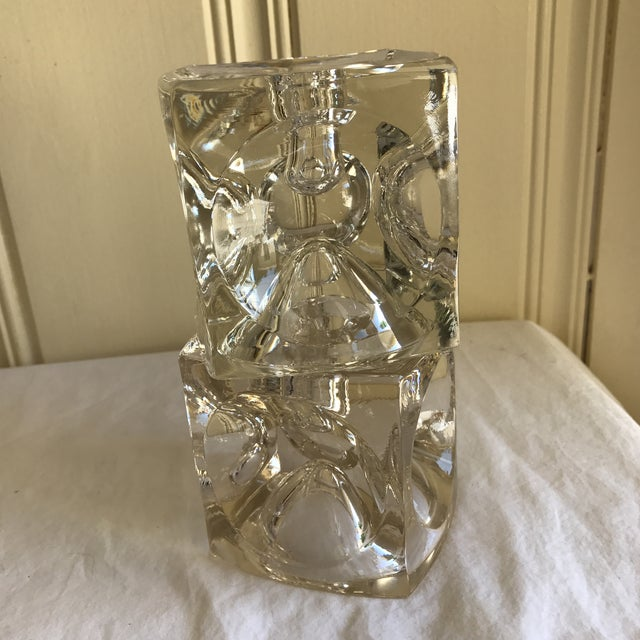Artisan Geometric Glass Candle Holders - A Pair For Sale - Image 5 of 11