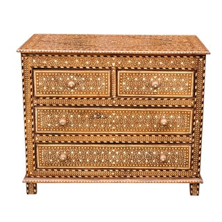 Anglo Indian Solapur Bone Inlay Chest of Drawers For Sale
