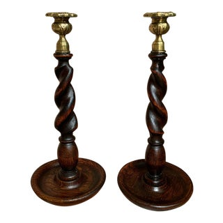 Antique English Oak Barley Twist Candlesticks Candle Holder Brass Thistle - a Pair For Sale