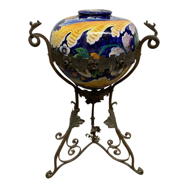 Antique Italian Wrought Iron Planter W/ Hand-Painted Majolica Vase For Sale