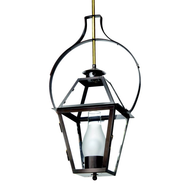Lantern & Scroll Charleston Hanging Yoke Lantern, Bronze For Sale
