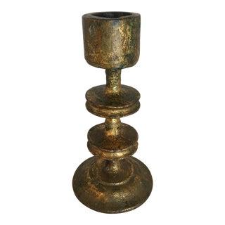 Vintage Leafed Gold Candle Holder For Sale