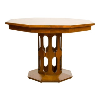 American Walter Wabash Dining Room Table with Three Original Leaves Circa 1960 For Sale