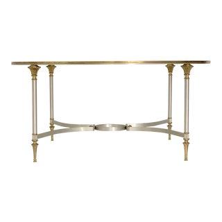 Italian Maison Jansen Brass and Steel Coffee Table For Sale
