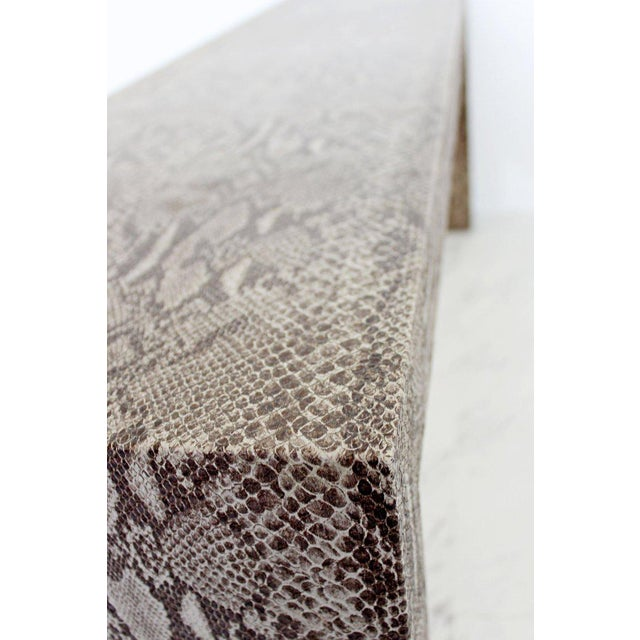 Brown Mid-Century Modern Snakeskin Parsons Console Table 1970s For Sale - Image 8 of 9