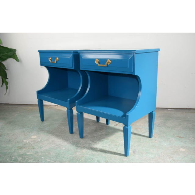 20th Century Italian Baroque Teal Blue Side Tables - a Pair For Sale - Image 9 of 9