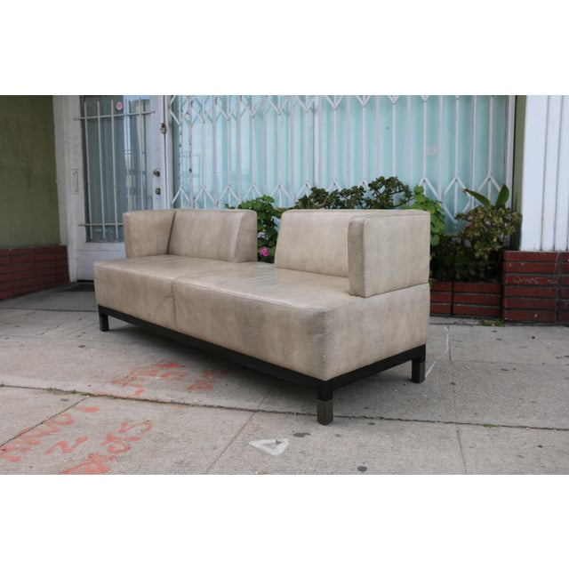 2010s Modern Contemporary Leather Love Seat For Sale - Image 5 of 11