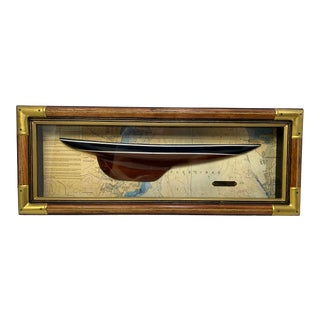 Vintage Half Hull Americas Cup Winner the Enterprise in Shadowbox For Sale