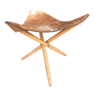 Mid-Century Modern Tripod Stool With Cowhide For Sale